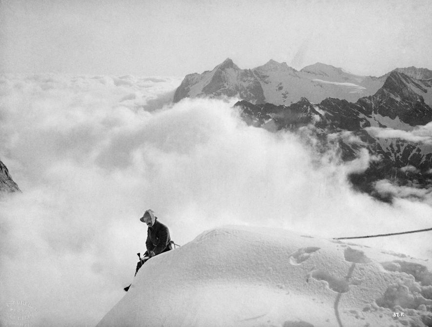Edward Whymper, the Englishman who first scaled the Matterhorn in 1865, photographed in the Alps for ...
