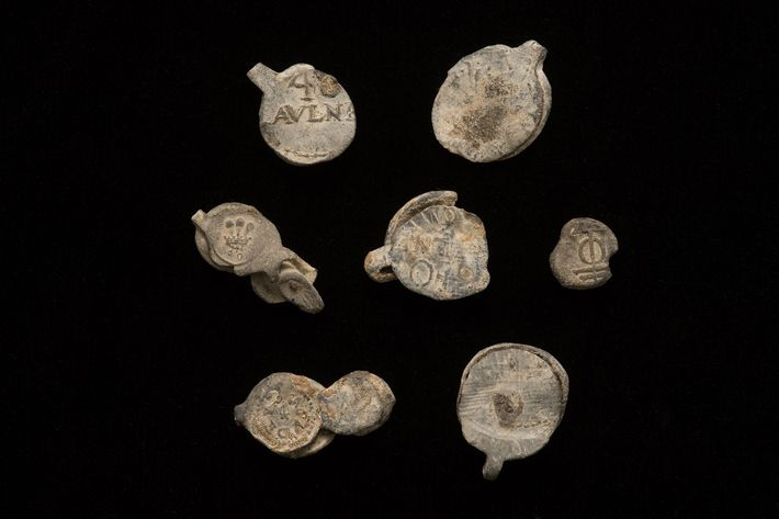 Lead seals recovered from the Encarnación. These seals were usually used to secure bolts of fabric ...