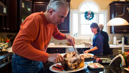 A turkey is the centrepiece of the traditional Christmas dinner.