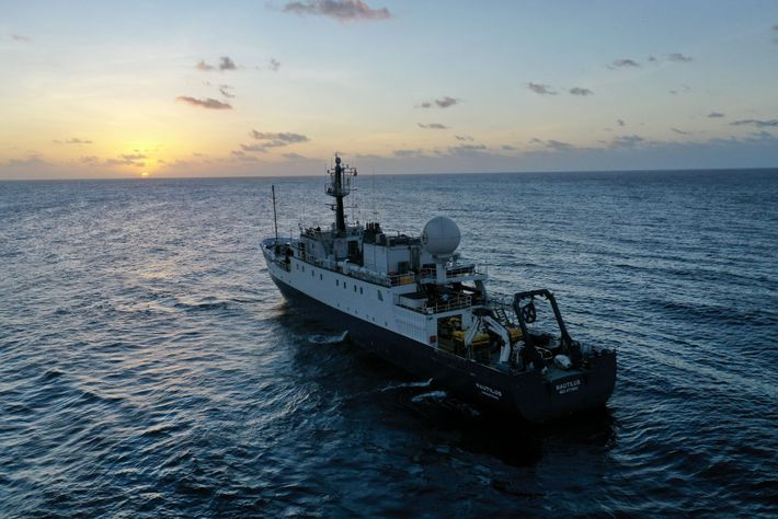 Outfitted with an array of underwater sensors, E/V Nautilus works a grid-like search pattern Ballard likens ...