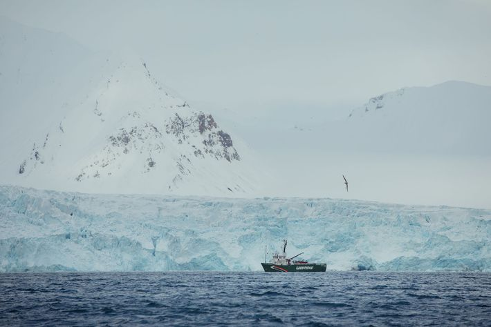 One of the Greenpeace ships, the MY Arctic Sunrise, is seen here in front of the ...