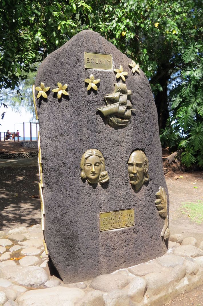 A lava rock monument in Tahiti shows Fletcher Christian and the woman he called Isabella.