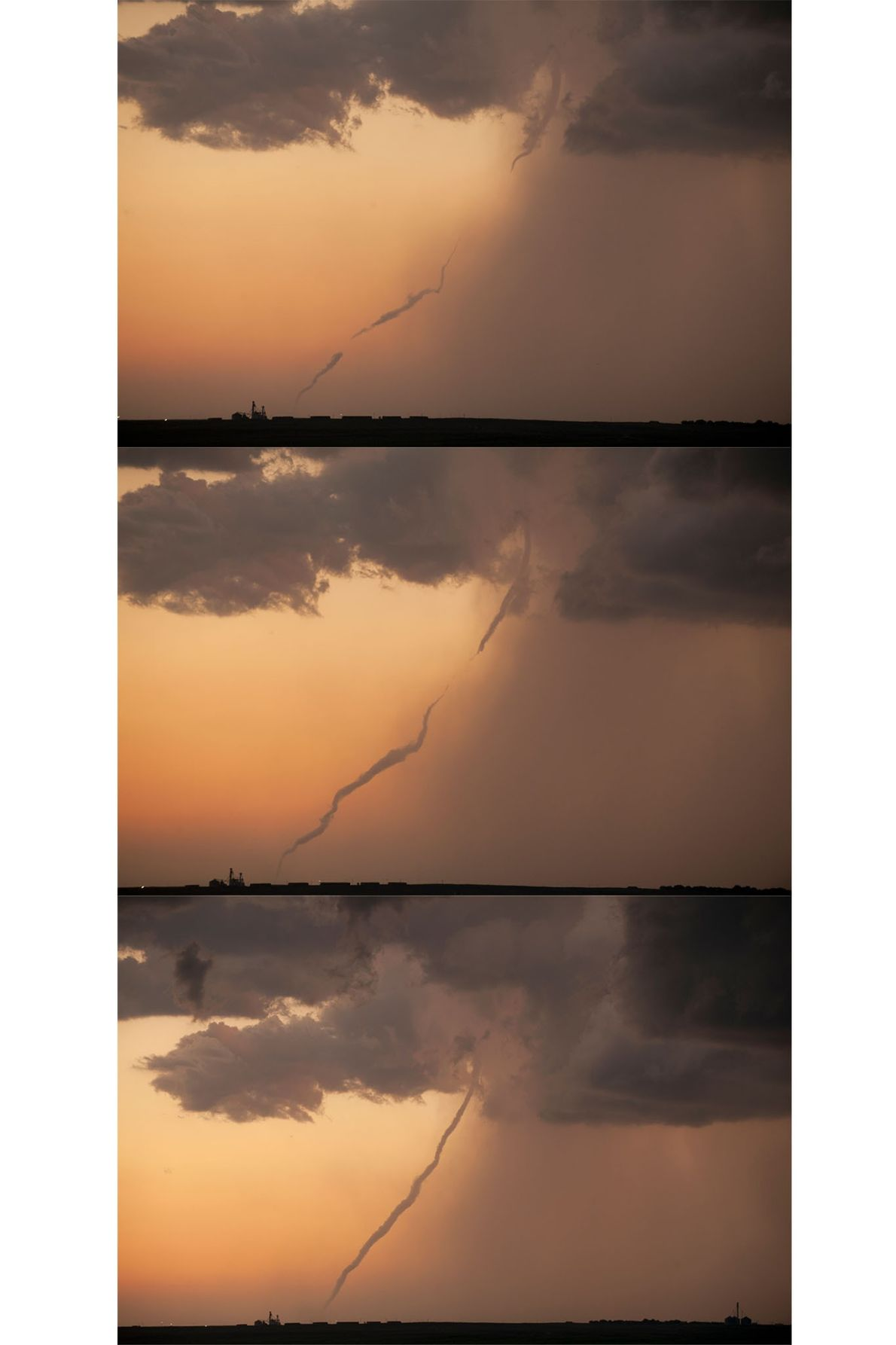 These three photos track the formation of a tornado funnel in Kansas. On the Great Plains, ...