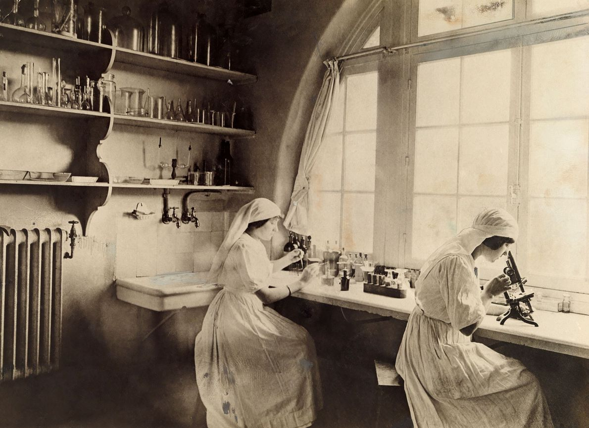 Red Cross nurses work at microscopes in a biology lab during World War I.