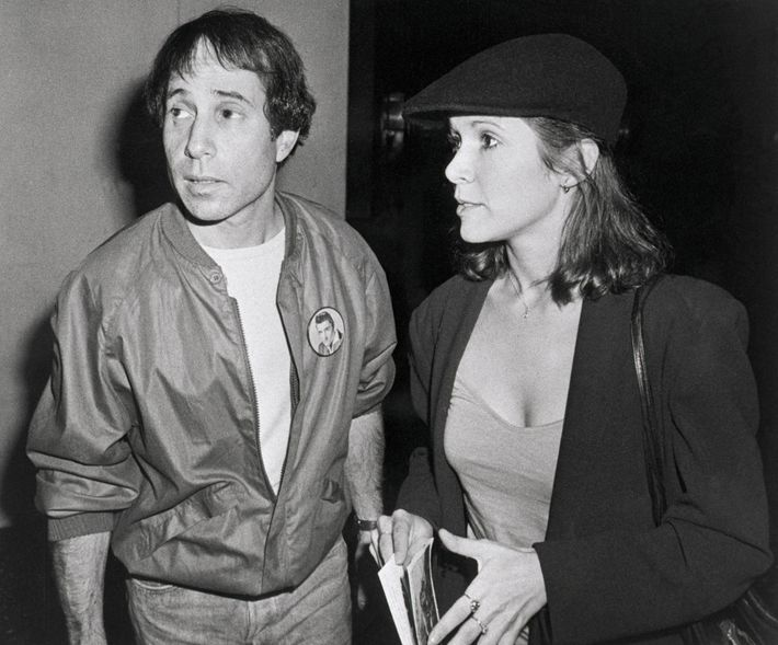 Carrie Fisher with her husband Paul Simon, a singer-composer and half of the musical duo Simon ...
