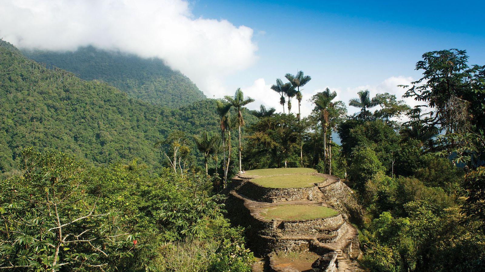 The central terrace of Teyuna in the jungle of the Sierra Nevada de Santa Marta, Colombia, ...