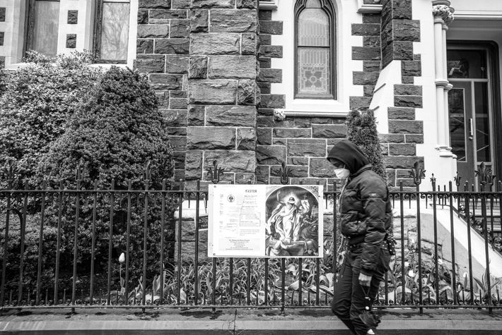 A church poster depicts a masked Jesus Christ beckoning to passersby in Brooklyn. Before the protests, ...