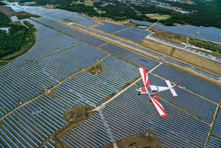 Solar panels, like these in Germany, have become much more common around the world in recent ...