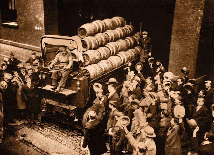 The first truck loaded with beer crosses the threshold of New York City's Ruppert Brewery following ...