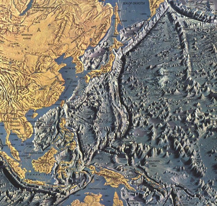 The Mariana Trench in the western Pacific Ocean contains the deepest point in the oceans and ...