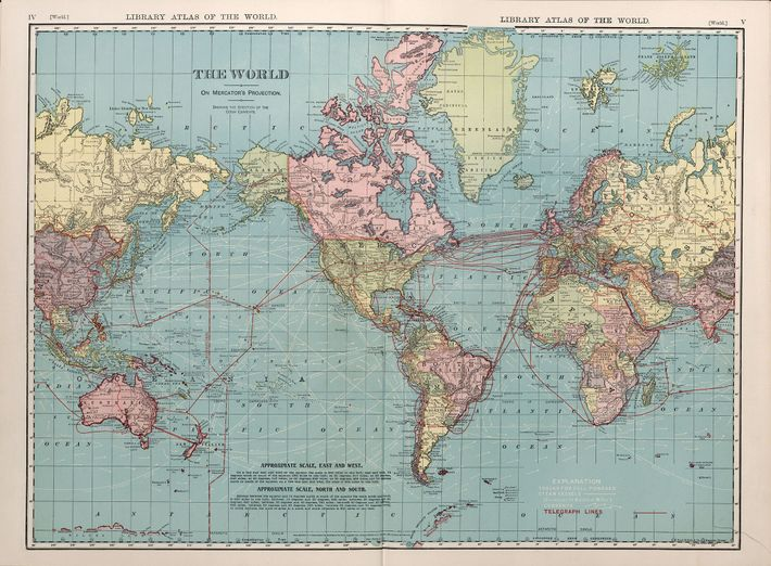 This 1912 map uses the Mercator projection, which inflates the size of land near the poles ...