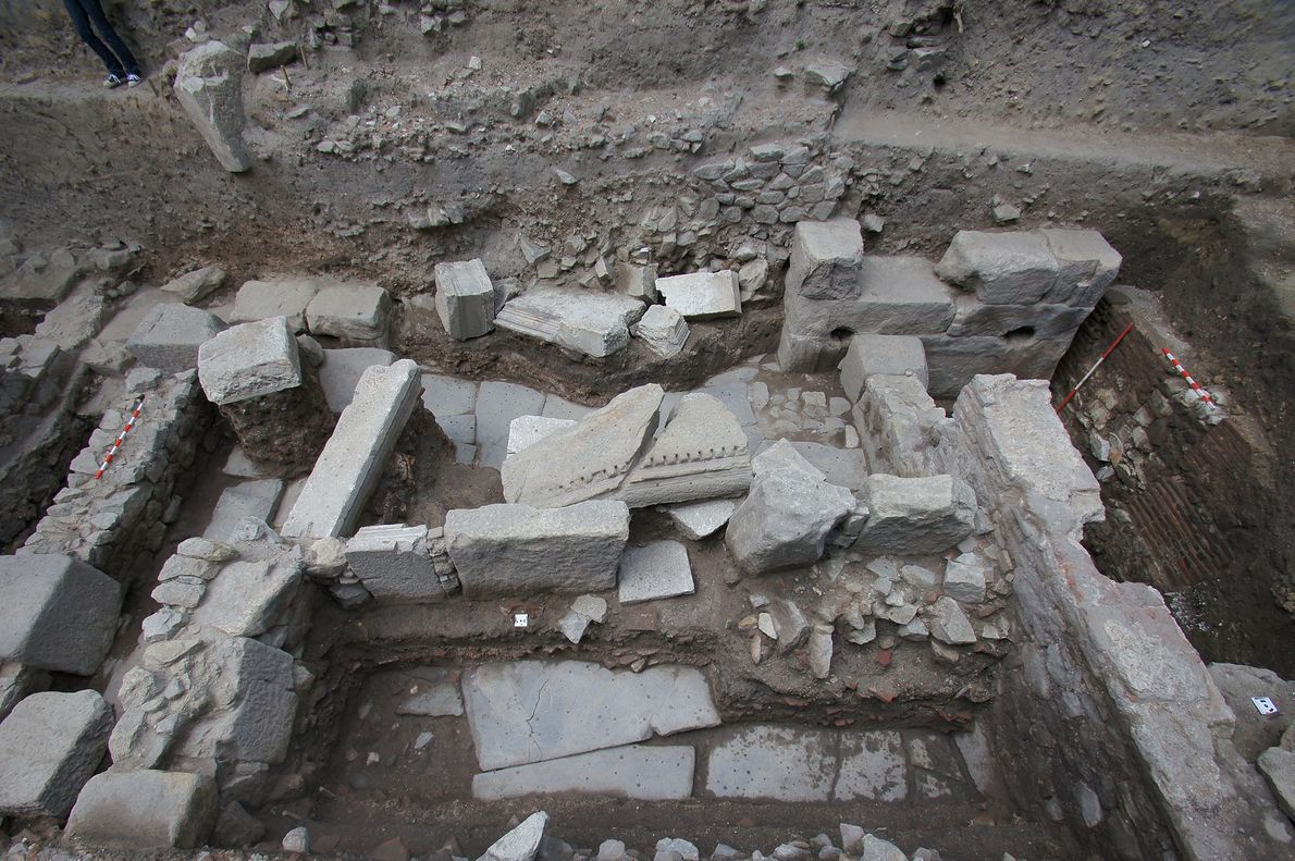 The three skeletons were found among the ruins of an Roman-era city streets. Remains from a ...