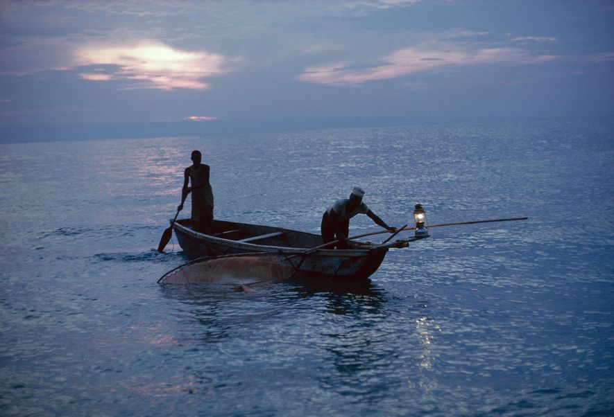 Pressure lamp glowing as lure, Africans off the shore of the reserve harvest sardine-sized  dagaa that ...
