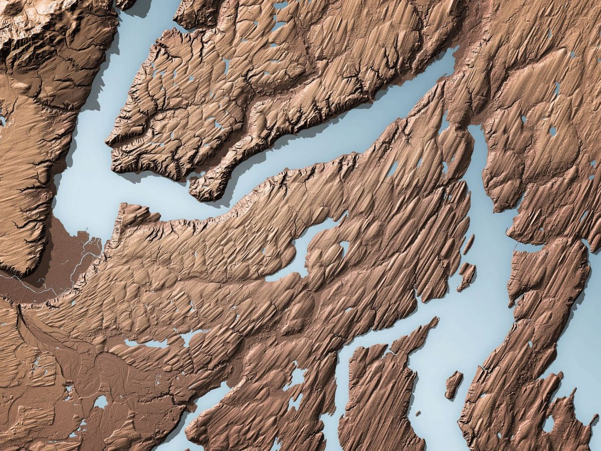 LIDAR shows the landscape around Hood Canal, a fjord in the Puget Sound, which is filled ...