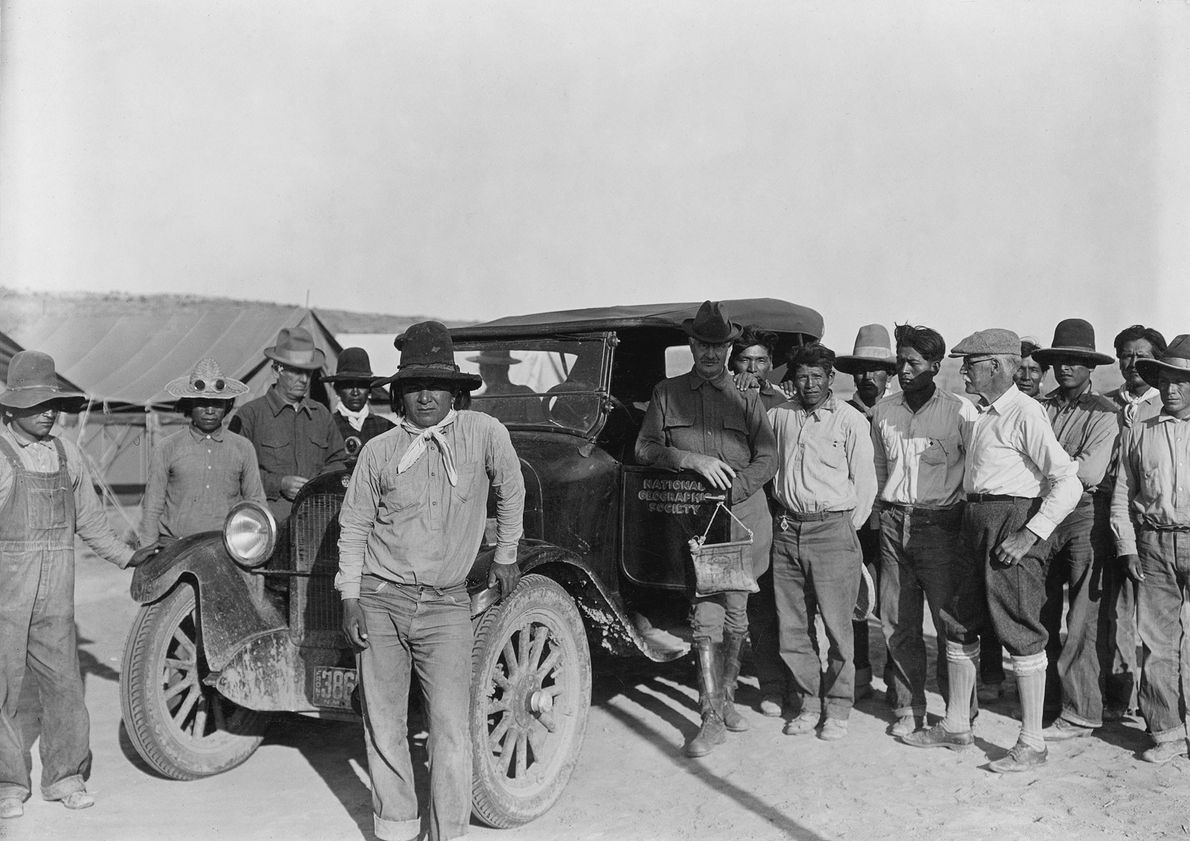 Chaco Canyon National Monument. Frank A. Thackeray, C.S. Scofield and W.H. Jackson, surrounded by Zuni and ...