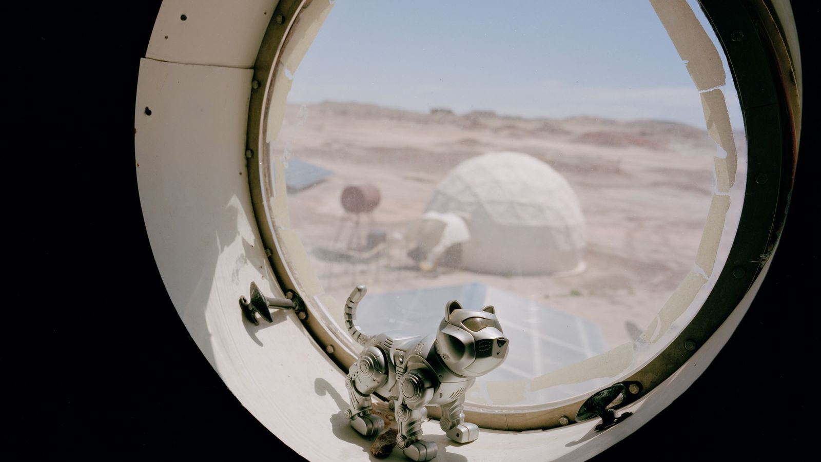 "The ""HabCat"" sits in a window sill at the Mars Desert Research Station in Hanksville, Utah, ..."