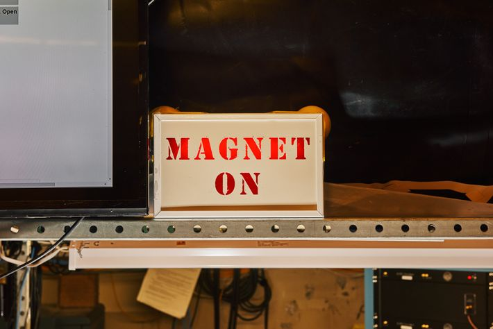 The MAGNET ON sign at the ADMX lab. ADMX is an axion haloscope, which uses a ...