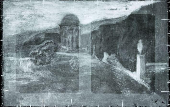 Scans revealed this landscape painting underneath 'La Miséreuse accroupie'.