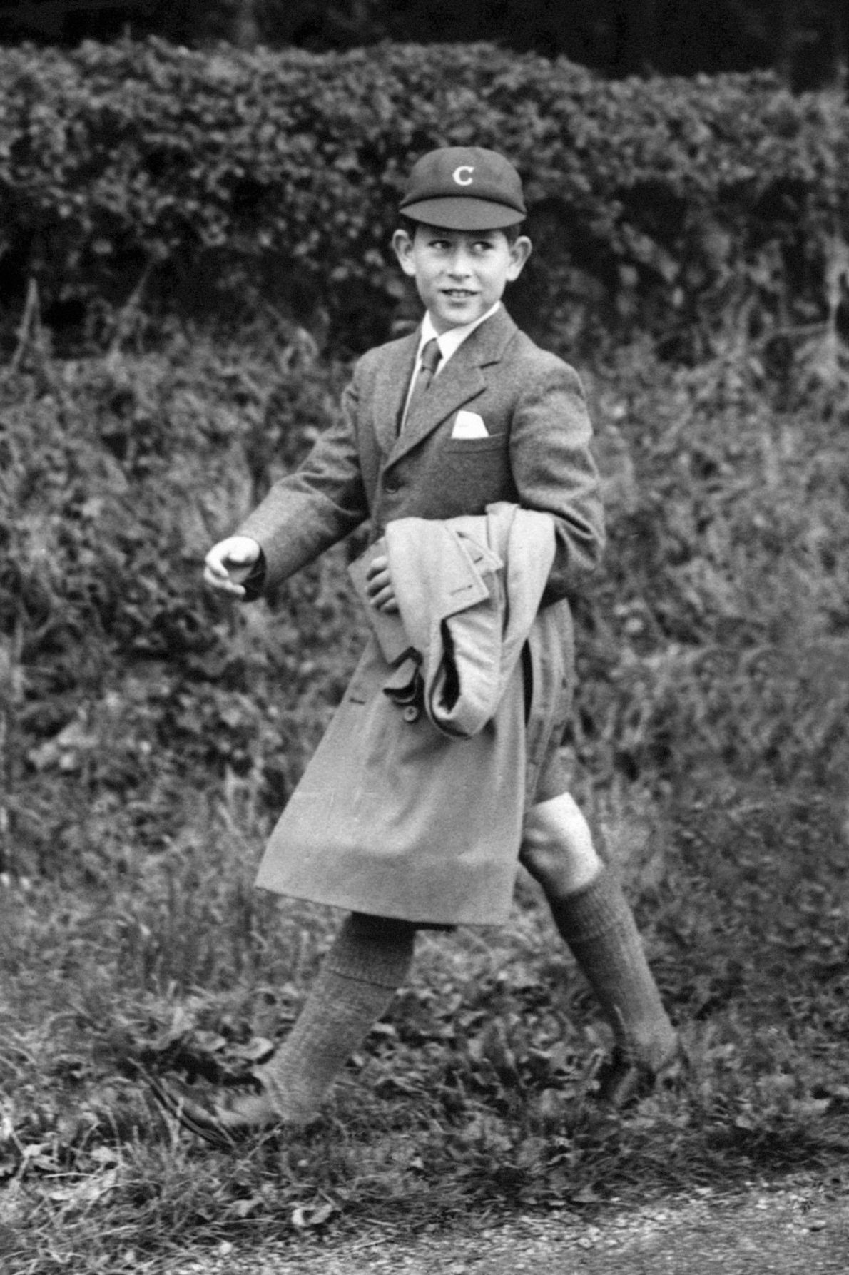 Prince Charles walks to Cheam School in Hampshire. The Prince of Wales transferred to the boarding ...