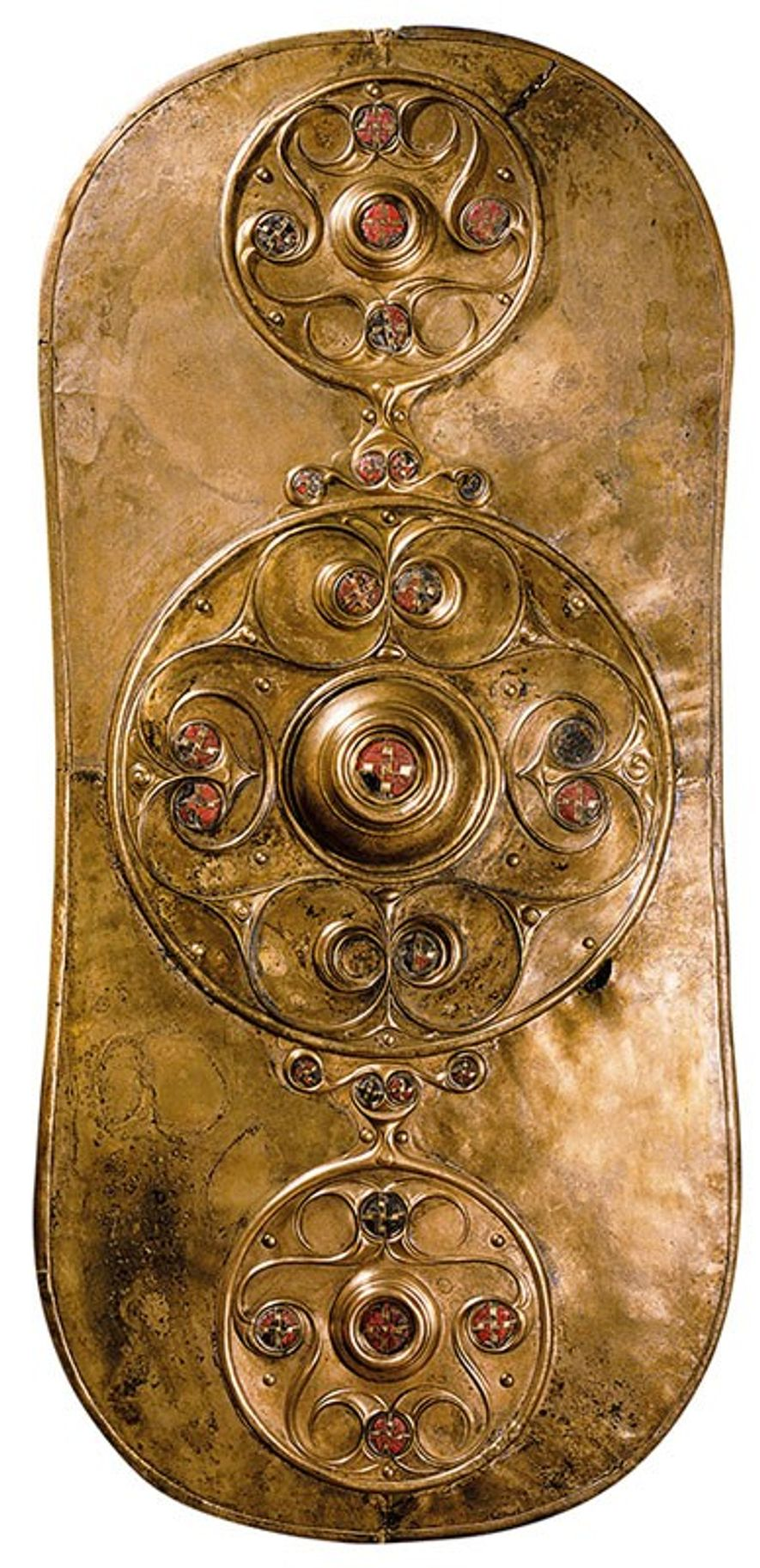 Found in the Thames in 1857, a copper shield dates from 350-50 B.C. Its fine craftsmanship hints at the cultural complexity of Britain's tribal society. British Museum, London