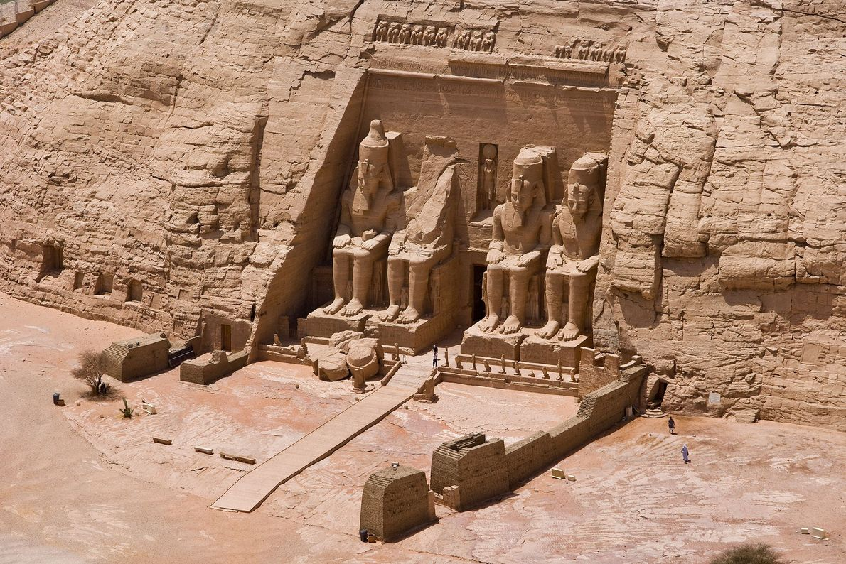 The 3,200-year-old colossal Temple of Ramses II was carved from a cliffside by the order of ...