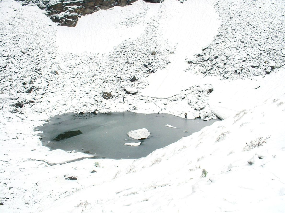 The lake is a little more than 100 feet in diameter and is frozen 11 months ...