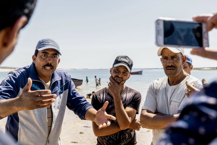 Angered by low prices and restrictive regulations, seaweed collectors in the village of Sidi Abed address ...