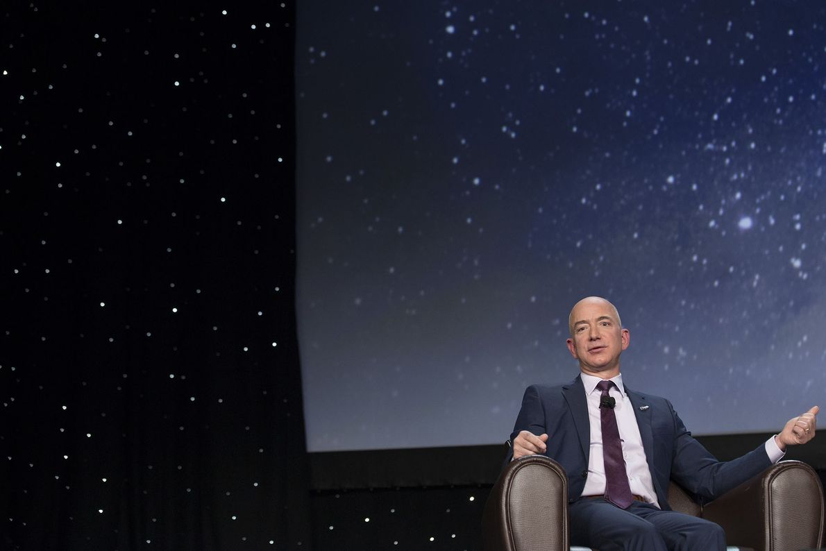 Jeff Bezos, chief executive officer of Amazon.com, speaks during the 32nd Space Symposium in Colorado Springs ...