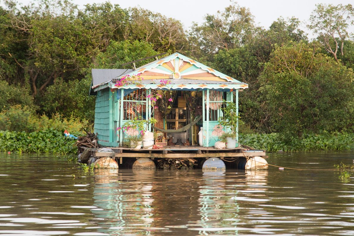 A floating home in Kompong Khleang, a village in Vietnam.