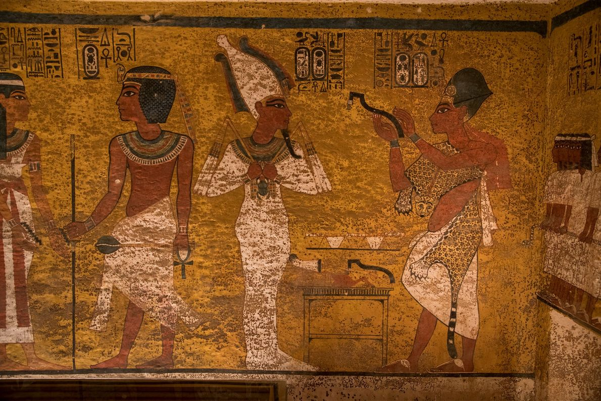 Differences in painting technique and application on the north wall of the tomb may be evidence ...