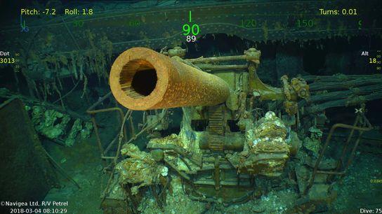 A gun sticks out from the sunken ship.