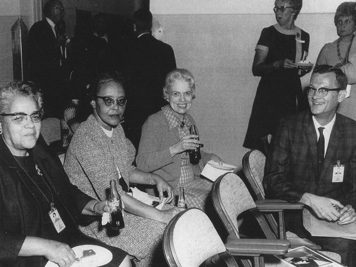 Dorothy Vaughan (far left) worked in Langley's segregated West Area computing unit and was promoted to ...