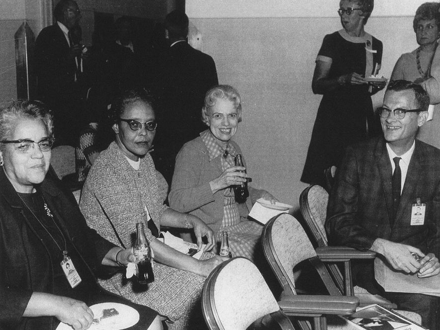 Dorothy Vaughan (far left) worked in Langley's segregated West Area computing unit and was promoted to lead the group, making her the first African-American supervisor at the National Advisory Committee for Aeronautics, the precursor to NASA.