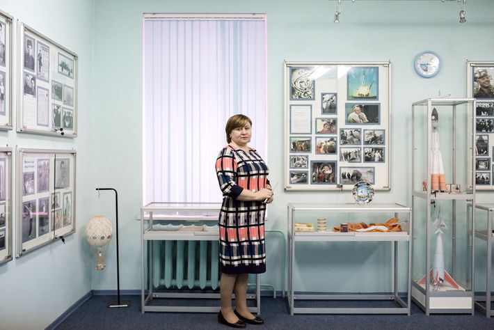 The head of a local school, Gagarin resident Natalia Tabac stands inside a museum created to ...