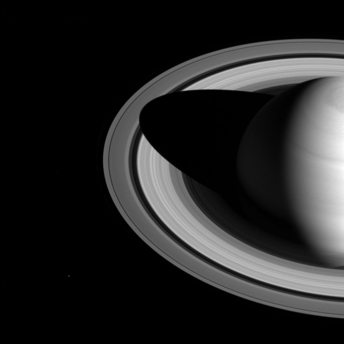 Saturn casts a deep shadow on its rings in this Cassini image.