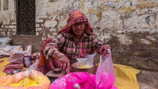During Holi, gulal is sold in huge quantities across India, particularly in the towns of Vrindaban, ...