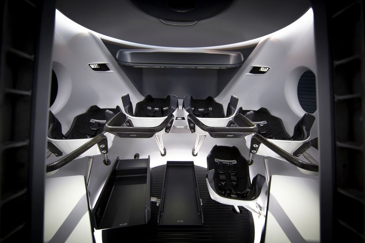 Inside, the Crew Dragon can carry up to seven astronauts or a combination of astronauts and ...