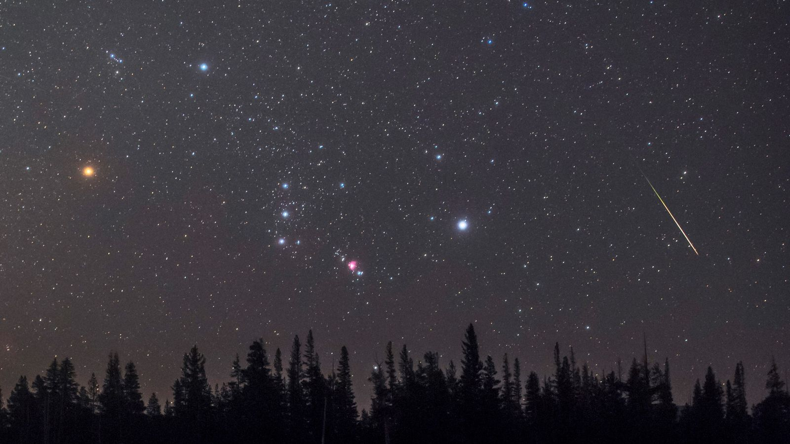 A meteor streaks past the constellation Orion, the hunter, as it hovers over the horizon. The ...