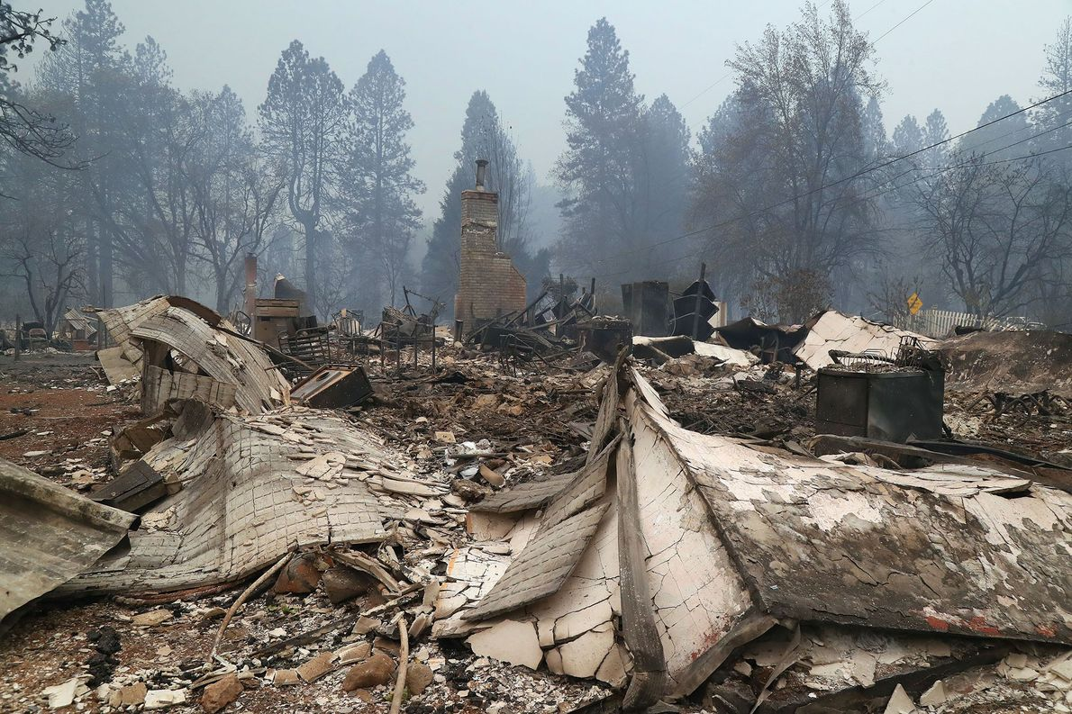 Chimneys were all that remained of the residences gutted by fire in Paradise, California. The bodies ...