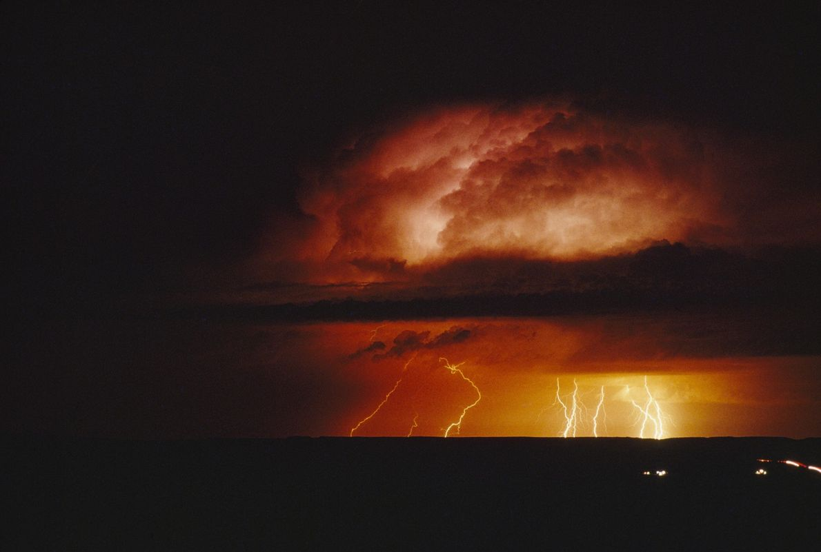 An angry sky screams with rage as a storm begins in the depth of the night. ...