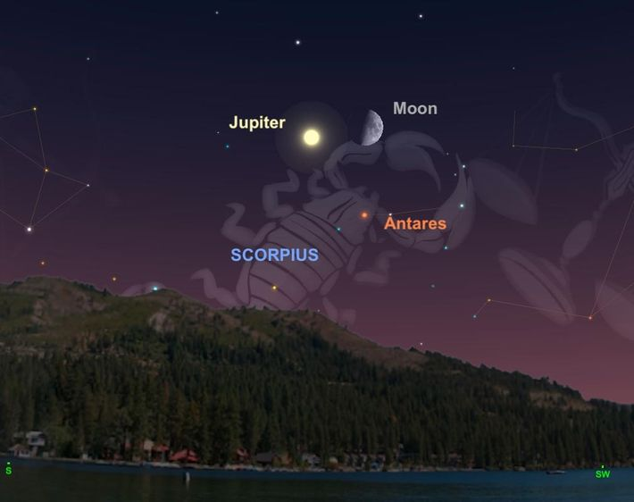 On September 5, the moon will form a bewitching triangle with Jupiter and the star Antares ...