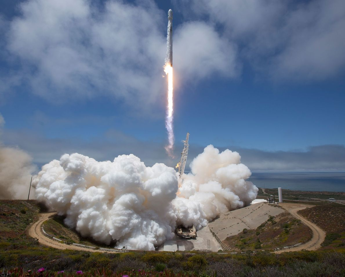 On May 22, 2018, a SpaceX Falcon 9 rocket launches from Space Launch Complex 4E at ...