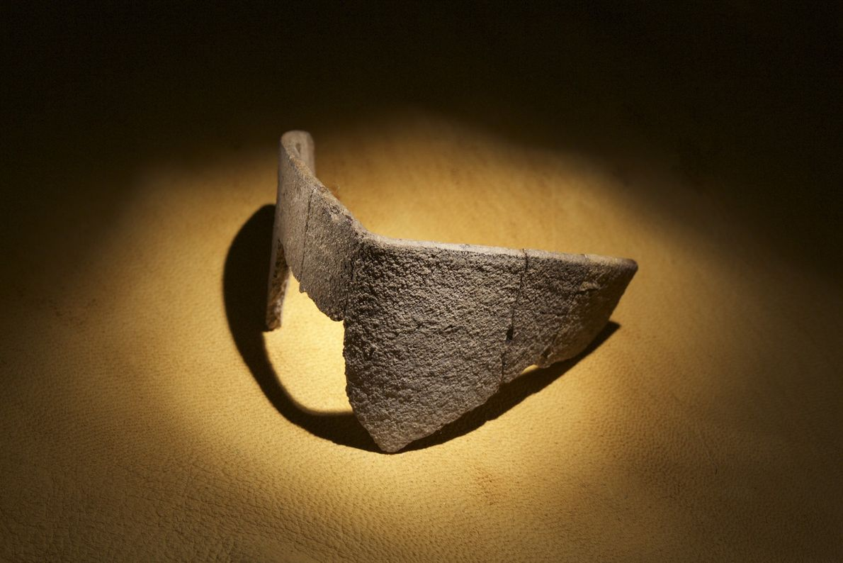 Part of a crucible—perhaps used by 16th-century English metallurgists—was dug from an earthen mound on Roanoke ...