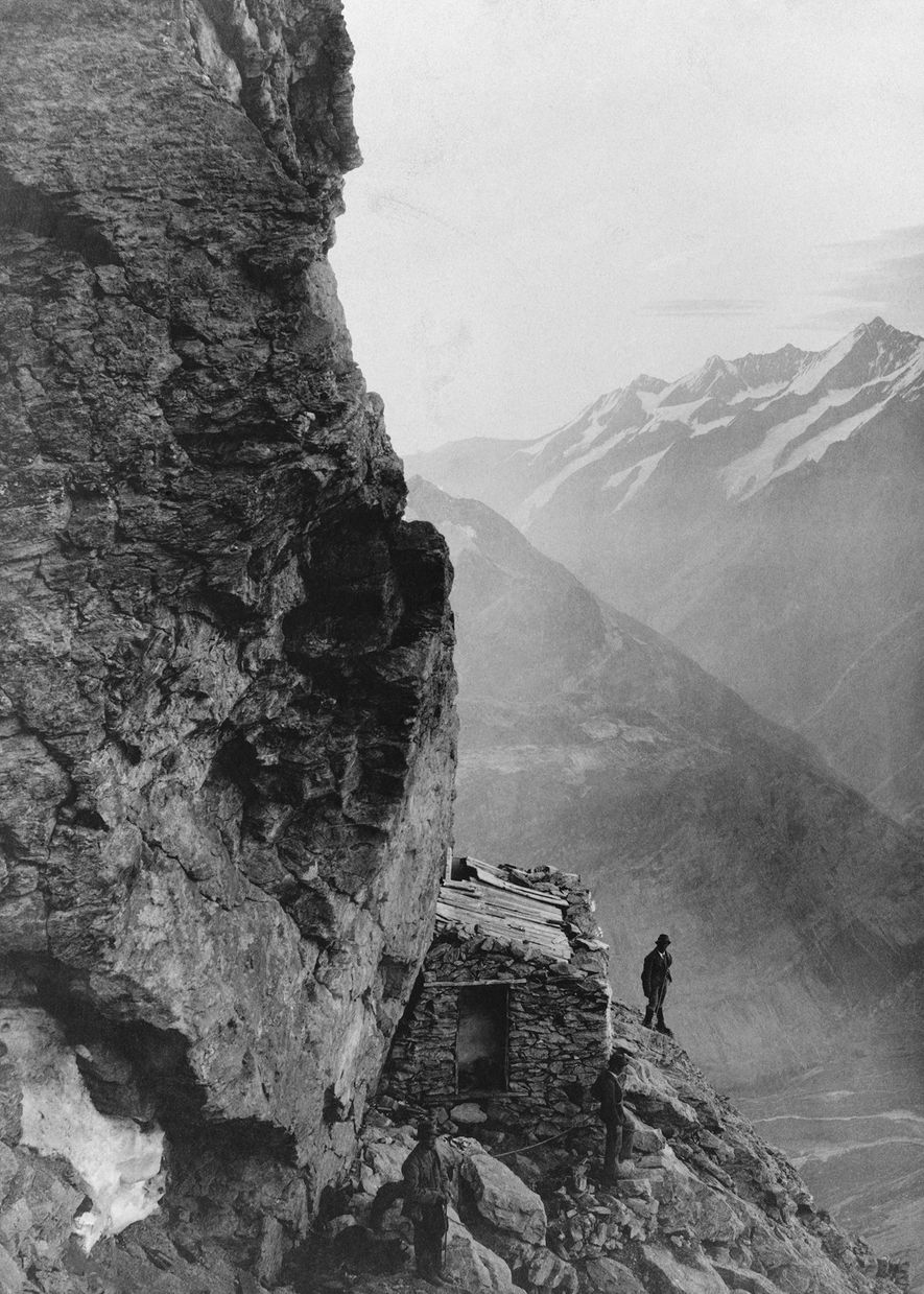 A rough shelter built on a ledge at 12,500 feet offered climbers some respite from the ...