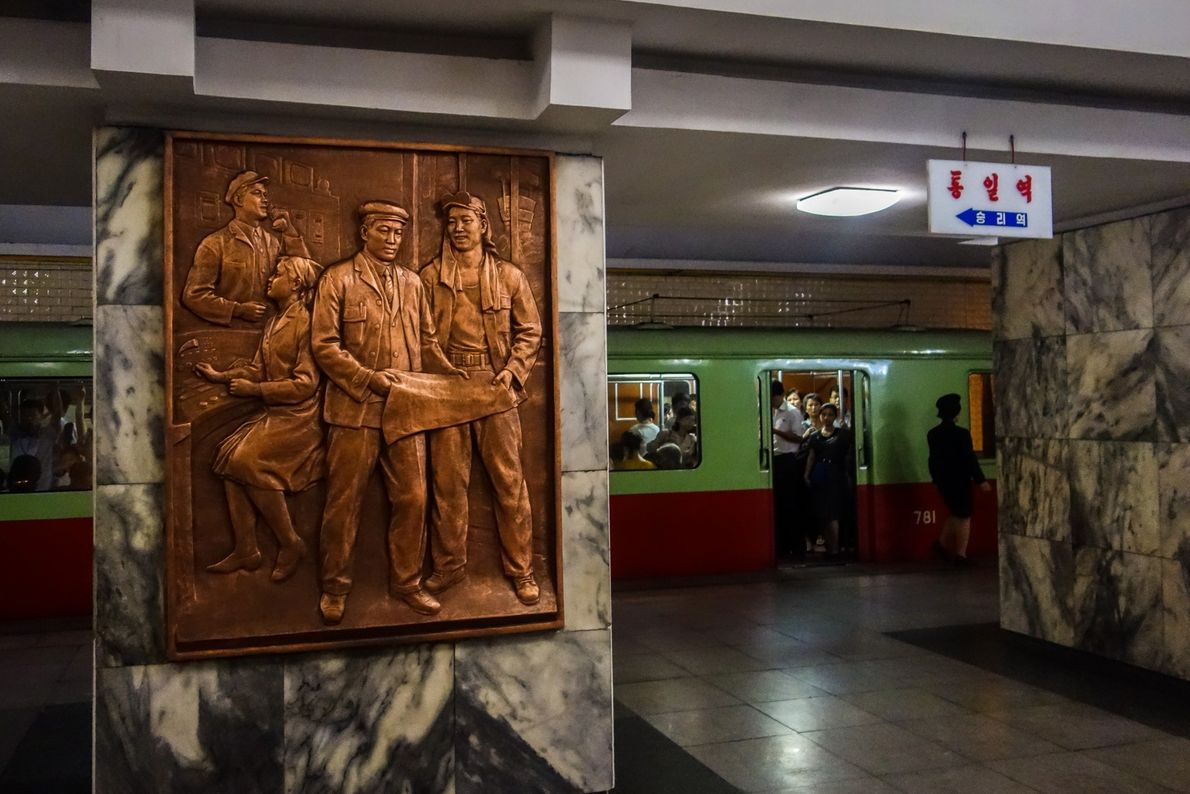 "In Tongil Station (meaning ""unification station""), all the decorations depict the hope for reunification of the ..."