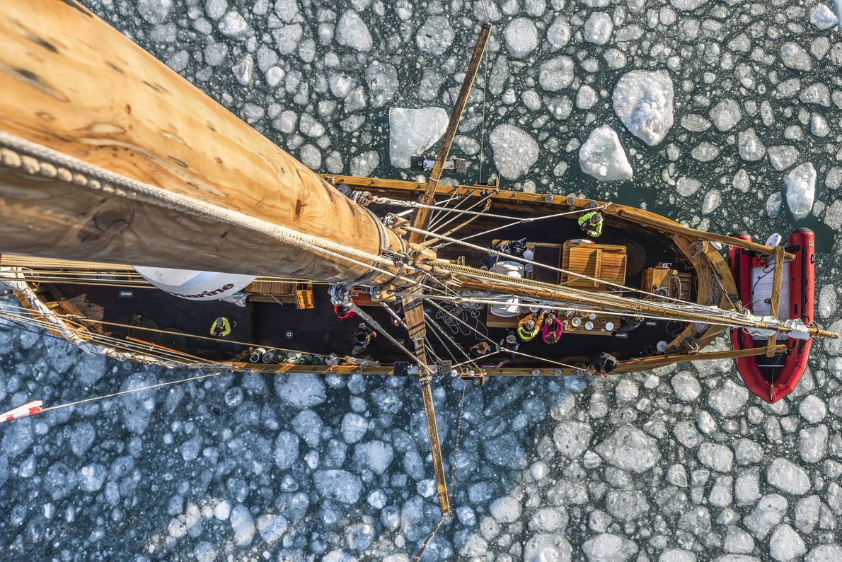 """""""A crows nest perspective taken from the mast top whilst sailing a traditional schooner through arctic ..."""