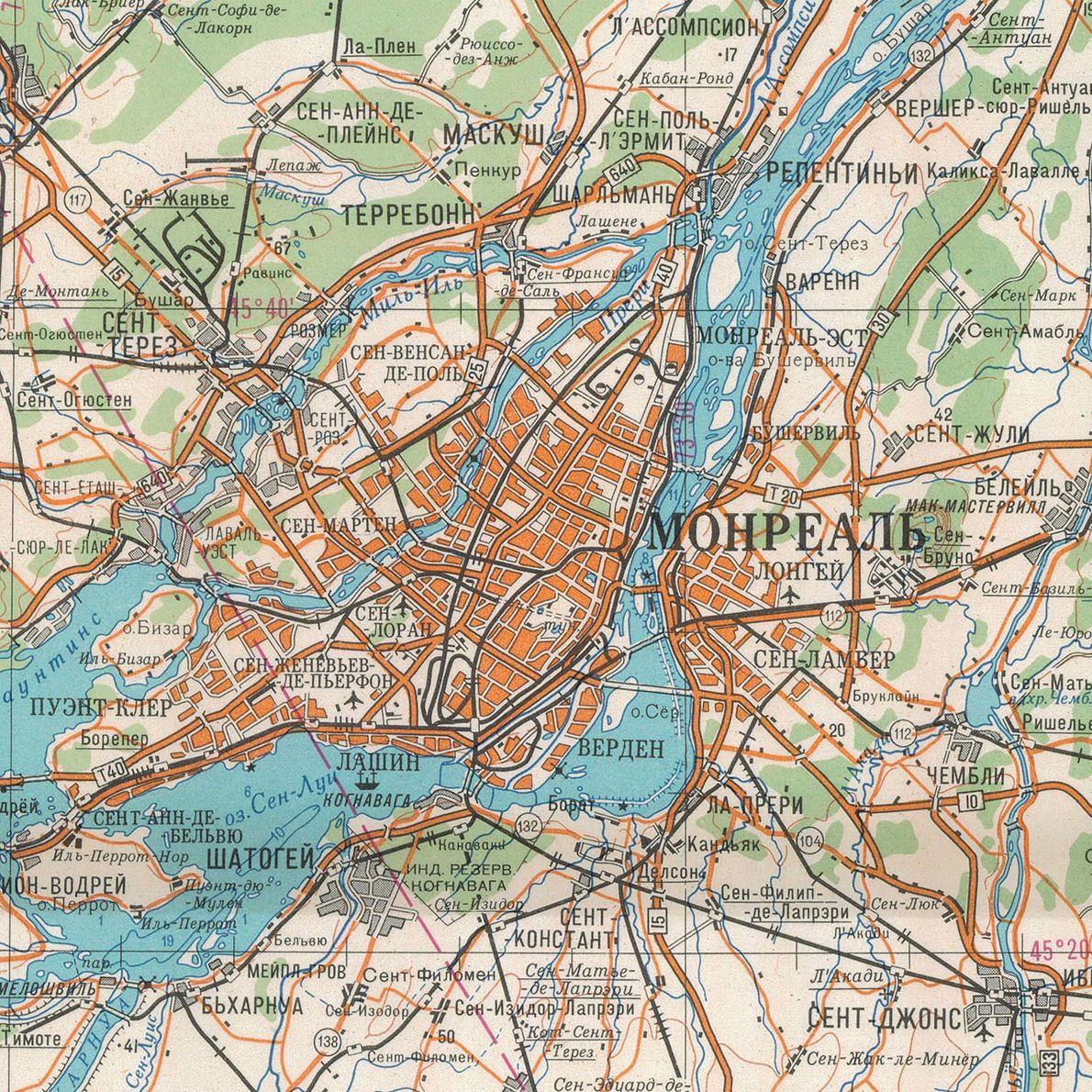 This small-scale map printed in 1981 shows the area around Montreal.