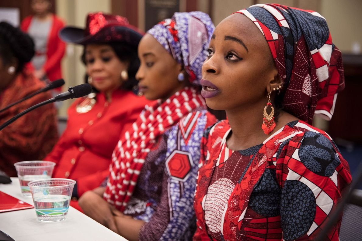 Hauwa tells her story to 17 members of the U.S. House of Representatives at an event ...