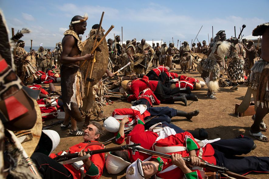 A group reenacts of the Battle of Isandlwana, the first major encounter in the Anglo–Zulu War ...