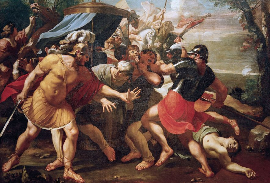 """""""The Death of Cicero"""" by François Perrier recreates the moment when Cicero was intercepted by two of Mark Antony's soldiers before the orator lost his life. 17th century. Bad Homburg, Staatliche"""